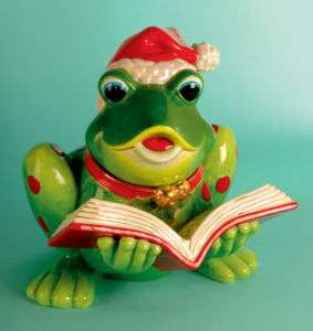 RADKO FROG SONG Musical Christmas 12 Cookie Jar NEW