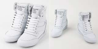 Womens White High Top Leather Sneakers Shoes US6~8 / Ladies Platform