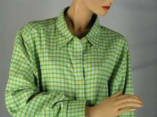 EDDIE BAUER Green Plaid FLANNEL SHIRT TOP sz 3X Cotton Womens Button