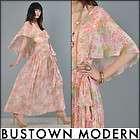 boho CAPE BACK sheer draped GAUZE floral GODDESS hippie maxi dress