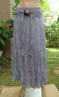 Coconut Summer beach Boho smocked long Skirt white XS L