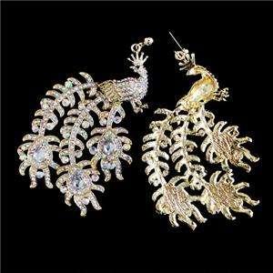 Big Peacock Bird Necklace Earring Set Swarovski Crystal
