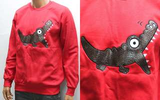 Mens Red Alligator Patch Cotton T shirts M / Crocodile Cartoon Tee T