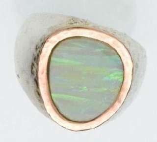 925 SILVER & 9K ROSE GOLD COLOR RING set with a white opal R266