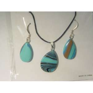 Synthetic Calisilica Tear Drop Shaped Necklace and Ear Rings, Earrings