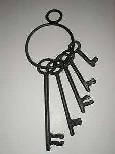 Collectible Black Iron Replica Antique Look Jailers Skeleton Keys Set