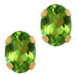 80 Ct Oval Emerald Envy Topaz 14K Yellow Gold 4 prong Stud Earrings