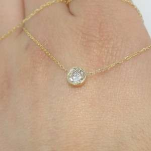 63 ct 14k Yellow Gold White Round Cut Real Diamond Solitaire Pendant