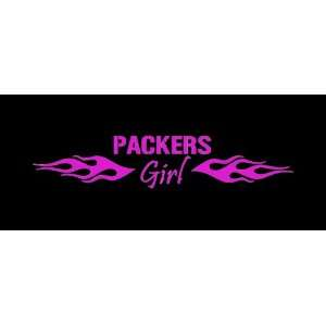 Green Bay Packers Girl Flames Car Window Decal Sticker Raspberry Pink