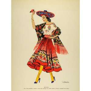 1941 Lithograph China Poblana Costume Jarabe Tapatio Dance