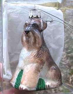 NEW* SCHNAUZER Blown Glass Xmas Ornament RETIRED