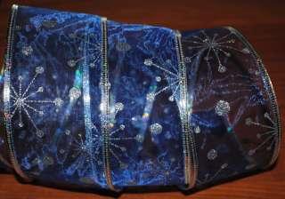 Wired Ribbon~Christmas~Blue Sheer~Silver Snowflake~Holiday~Snow