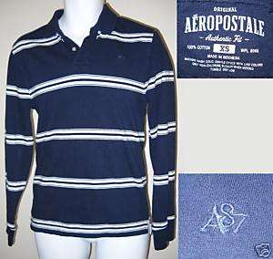 XS NAVY BLUE AEROPOSTALE LONG SLEEVE BUTTON POLO SHIRT