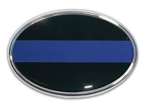 POLICE THIN BLUE LINE OVAL ADHESIVE EMBLEM MEDALLION