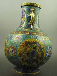 Old Chinese 24K Gold Gilt Dragon Enamel Cloisonne Vase