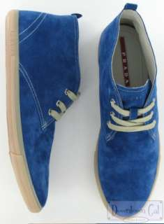 New Prada Blue Suede Ankle Boots Shoes 8 US 9 EU 42 $370
