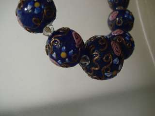 vintage 1940s Venetian Cobalt Blue Wedding Cake Glass Bead Necklace
