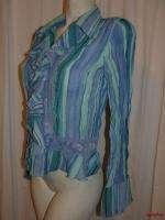 BFS03~ALLISON TAYLOR Blue Lace Accent Belled Long Sleeve Blouse Top