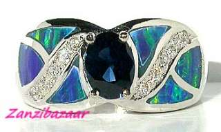 14K WHITE GOLD BLUE SAPPHIRE, OPAL INLAY & DIAMOND RING