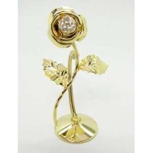 24k Gold Plated Standing Mini Rose Swarovski Crystal
