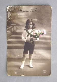 VINTAGE POSTCARD BONNE FETE SAILOR BOY FLOWERS REX 520