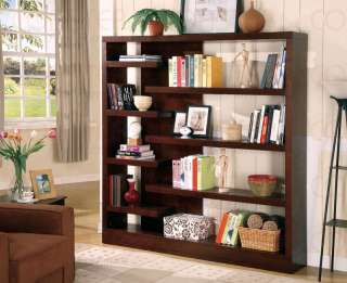 Modern Cappuccino Wood Bookcase Book Display Shelf Case