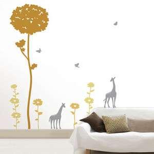TREE & GIRAFFE Mural Art Wall Sticker Vinyl Decal Decor