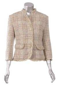 Sutton Studio Womens Formal Boucle 3 Button Blazer Jacket Pink Multi