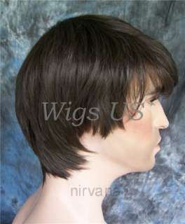 MENS WIGS Long full side swept bangs man Chestnut Brown Wig US Seller