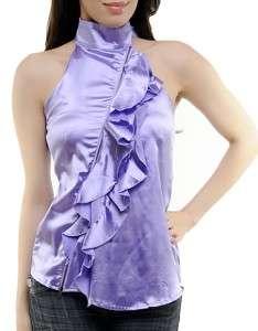 Purple LILAC HALTER TOP BLOUSE w/ Zipper Detail S L