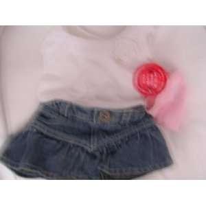 Build a Bear Doll Clothing ; Denim Skirt, White Shirt, Pink Underpants