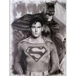 Superman and Batman Sketch Portrait, Charcoal Graphite Pencil Drawing