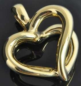 Yellow Gold Polished Open Double Heart 3D Slide Enhancer Charm Pendant