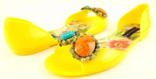 STEVEN STEVE MADDEN JELLYS Yellow Stones Decoration Womens Shoes Flats