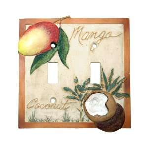 Mango Bay Palm Tree Tropical Fruit Double Outlet Cover