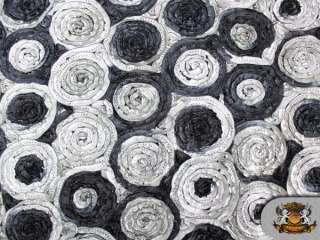MULTI COLOR CIRCLE TAFFETA FABRIC B&W / BLACK BACK / 58 WIDE / SOLD