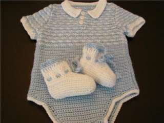 CROCHETED BLUE BABY BOY DOLL ONESIE ONE PIECE OUTFIT BOOTIES 6 MOS