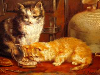 American Kittens Cats Still Life Portrait Interior Scene Oil Painting