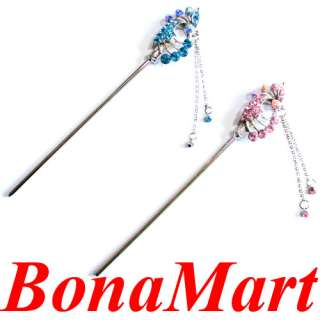 crystal Peacock hair pin pin stick up hair for bridal&pretty women