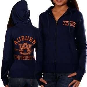 Auburn Tigers Ladies Navy Blue Victoria Full Zip Hoodie Sweatshirt