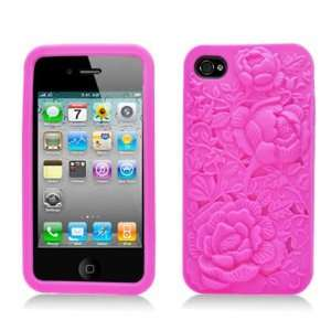 Pink Rose Flower Soft Silicone Laser Cut Skin for Apple