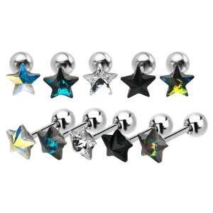 Black Crystal Star Cartilage Earrings   18G (1mm)   Sold