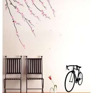 BIKE & TREE DECOR MURAL ART WALL PAPER STICKER PS 58093