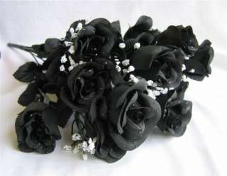 BLACK Long Stem Silk Roses Buds Wedding Bridal Rose Bouquet