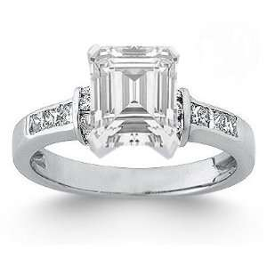 1.25 Total Carat Emerald Cut Diamond Engagement Ring Ring