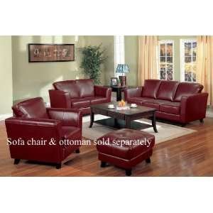 2pc Sofa & Loveseat Set Contemporary Red Bycast Leather