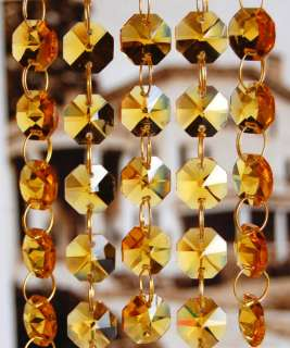 of Amber Lead Glass Crystal Octagon Chandelier Prisms Chains