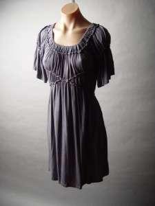 Medieval Renaissance Fancy Peasant Gathered Soft Jersey Knit Dress M