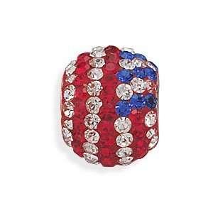 Silver American Flag Crystal Bead West Coast Jewelry Jewelry