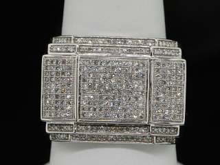 MENS WHITE GOLD .72C PAVE DIAMOND HUGE FACE PINKY RING